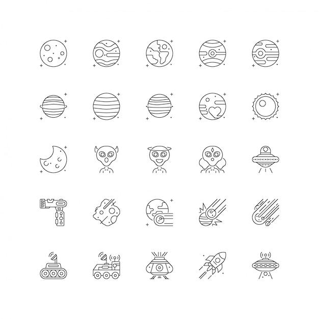Raumuniversum-ikonensatz mit der linie art lokalisiert Premium Vektoren