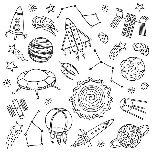 Raumvektor-illustrationssatz. hand gezeichnete gekritzelskizze. cartoon-planeten, raketen, sterne, asteroiden und andere kosmische elemente Premium Vektoren