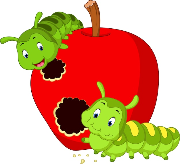 Raupen fressen den apfel Premium Vektoren