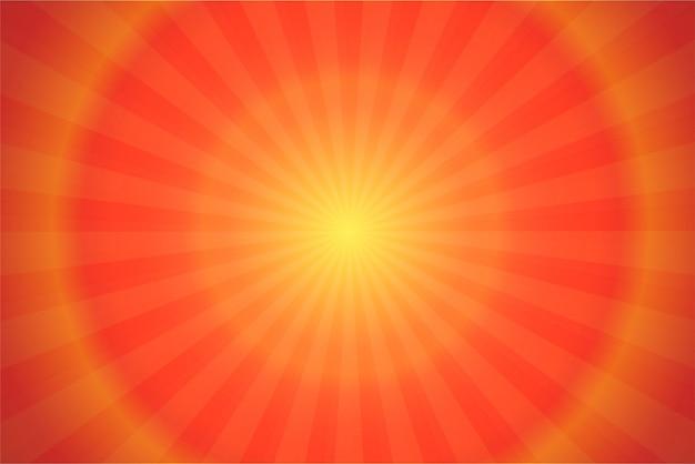 Ray und sonnenlicht-orange komischer karikatur-hintergrund. Premium Vektoren