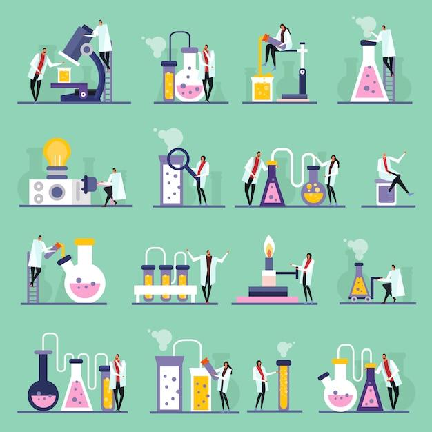Reagenzgläser und phiolen der menschlichen charaktere der wissenschaftslaborflachen ikonen mit substanzen Kostenlosen Vektoren