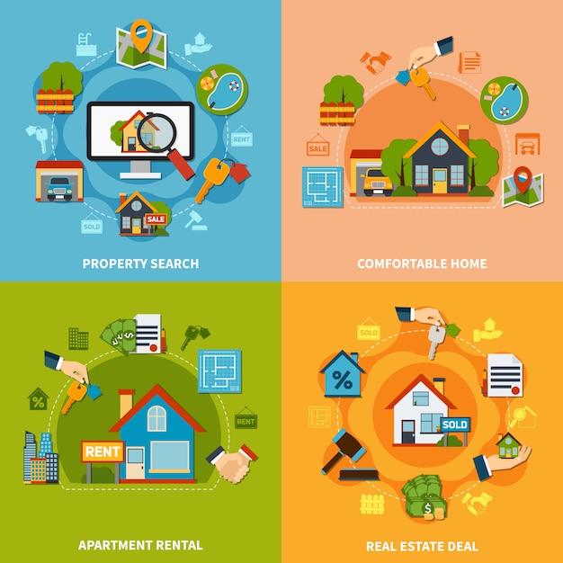 Real estate-design-konzept Kostenlosen Vektoren