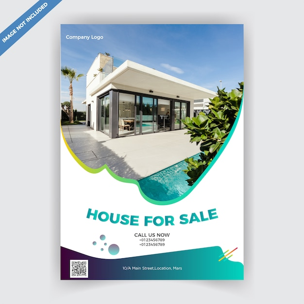 Real estate flyer designvorlage Premium Vektoren
