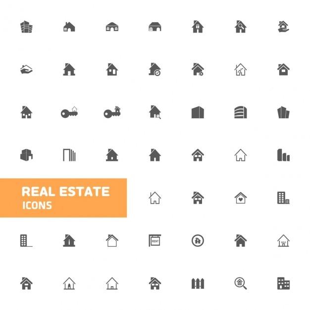 Real estate icon set Kostenlosen Vektoren