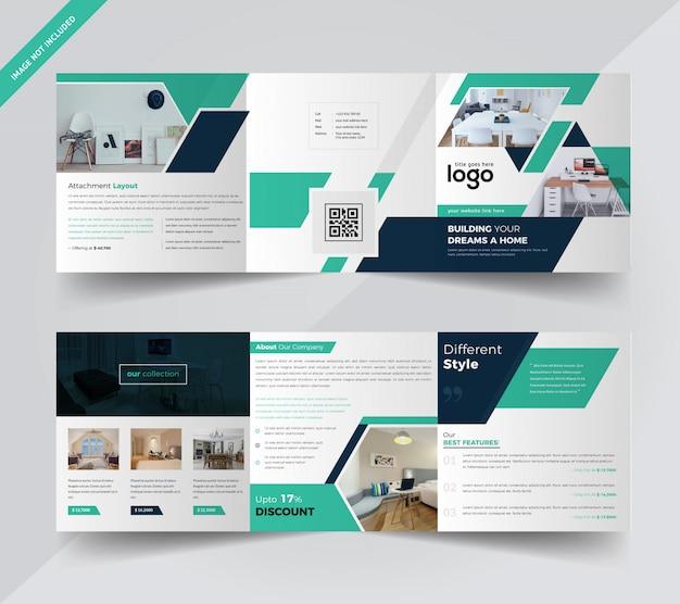 Real estate square dreifach gefaltete broschüre Premium Vektoren