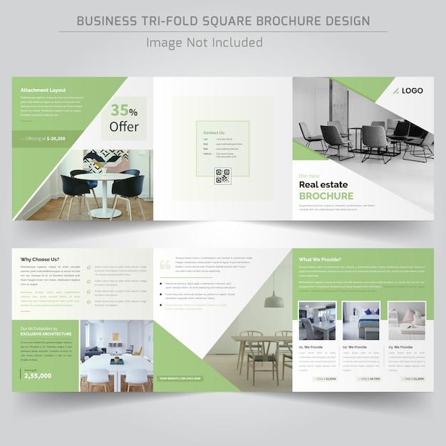 Real estate square trifold-broschüre Premium Vektoren