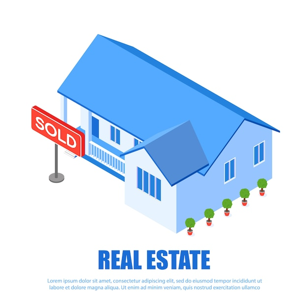 Real estate-typenschild verkaufte vektor-illustration. Premium Vektoren