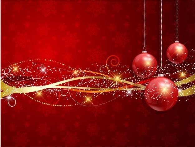 Realist weihnachtskugeln mit goldenen bändern hintergrund Kostenlosen Vektoren