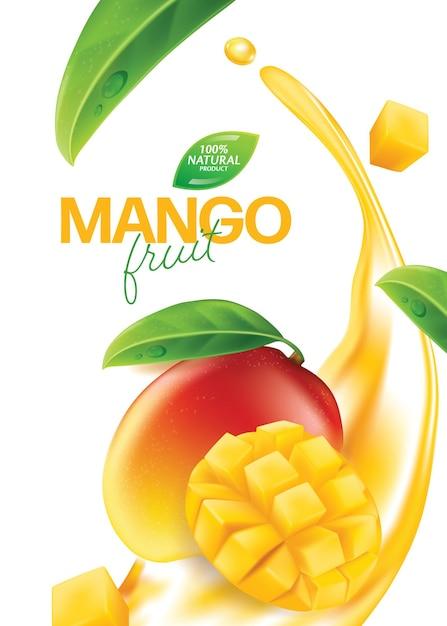 Realistisch detailliertes ganzes und stücke mango Premium Vektoren