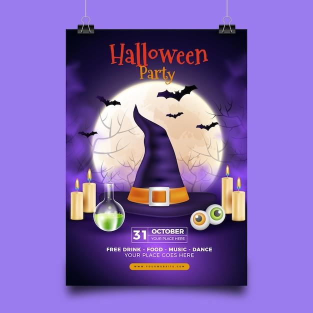 Realistisch gemachte halloween-partyplakatschablone Kostenlosen Vektoren