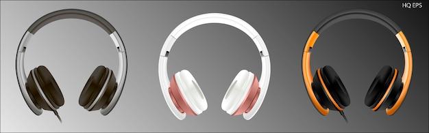 Realistisch hochwertiges headset. kopfhörer-vektor Premium Vektoren
