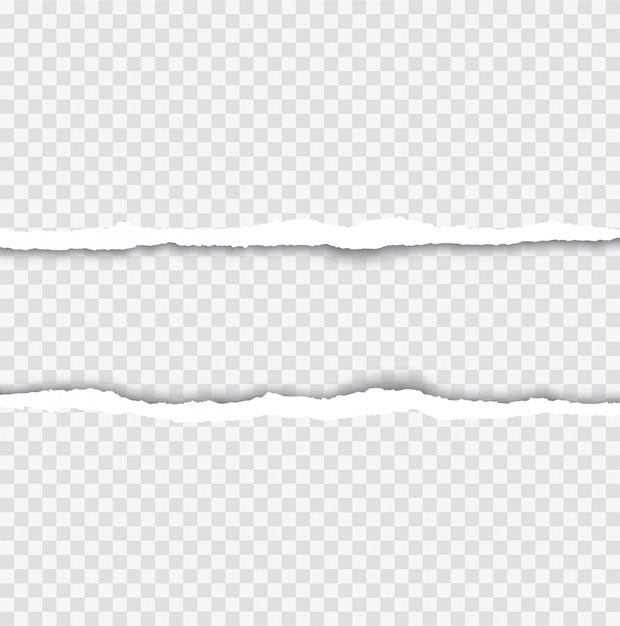 Realistisch zerrissene papierkanten mit schatten auf transparent Premium Vektoren