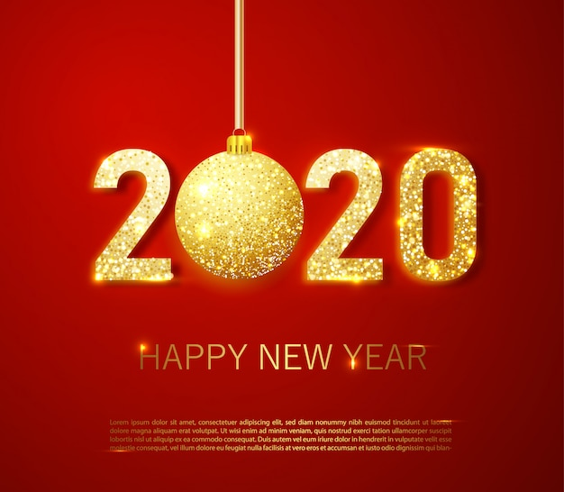 Realistische 2020 goldene zahlen und festliche konfettis, sterne und gewundene bänder auf rotem hintergrund Premium Vektoren