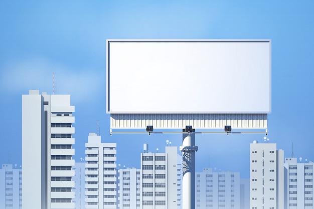 Realistische 3d anschlagtafel im freien auf stadtskylinehintergrund Kostenlosen Vektoren