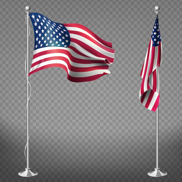 Realistische 3d flaggen der vereinigten staaten von amerika auf stahlmasten Kostenlosen Vektoren
