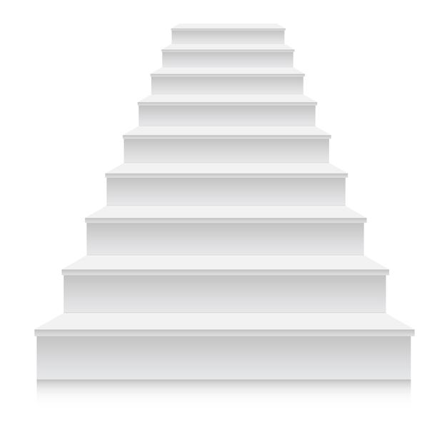 Realistische 3d-weiße treppenstufe Premium Vektoren