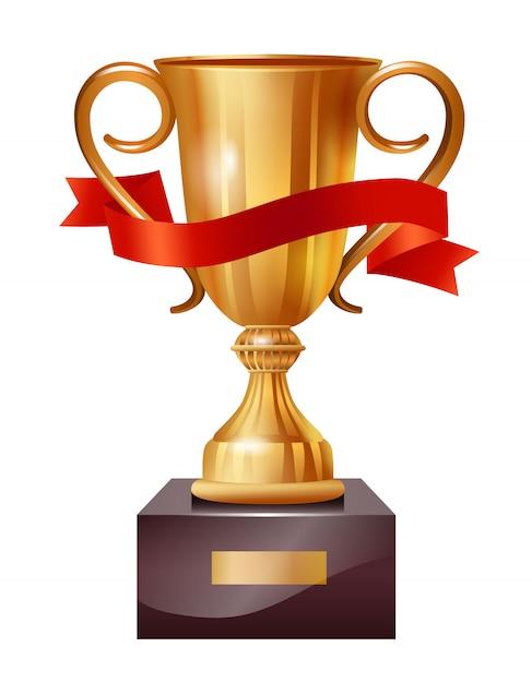 Realistische abbildung der goldschale mit rotem band. gewinner, anführer, champion. Kostenlosen Vektoren