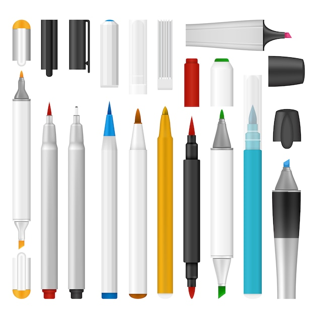 Realistische abbildung des filzstift-markierungsmodells für web Premium Vektoren