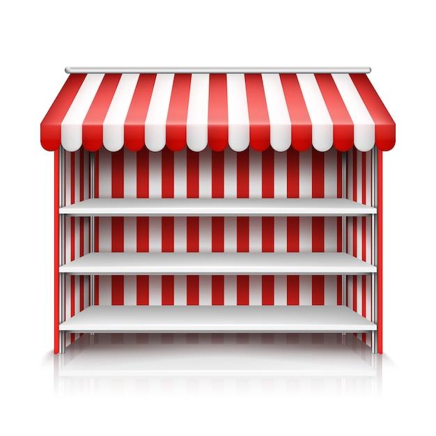Realistische abbildung des marktstandes mit roter und weißer gestreifter markise Kostenlosen Vektoren