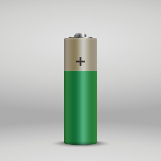 Realistische alkaline-batterie. Premium Vektoren