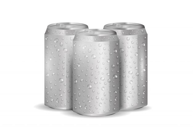 Realistische aluminium-getränkedose mit wassertropfen auf dem weißen hintergrund. Premium Vektoren