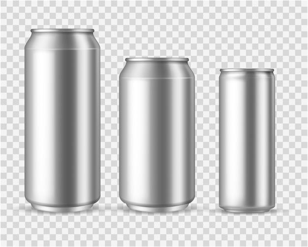 Realistische aluminiumdosen. blank metallic kann bier soda wasser saft verpackung 300 330 500 leere behälter vorlage trinken Premium Vektoren