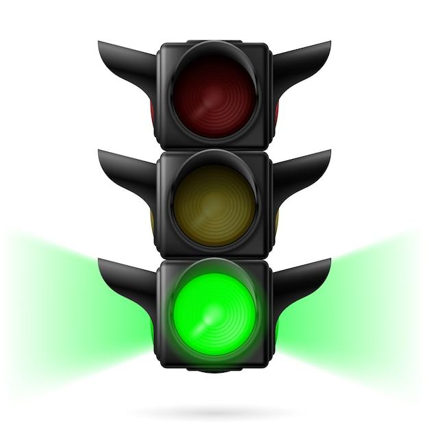 Realistische ampeln mit grüner farbe und seitenlicht. illustration auf weißem hintergrund Premium Vektoren