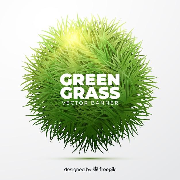 Realistische art der fahne des grünen grases Kostenlosen Vektoren