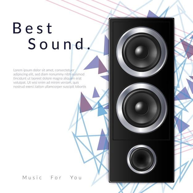 Realistische audiosystemzusammensetzung mit bester solider schlagzeile und großer schwarzer sprecherillustration Kostenlosen Vektoren
