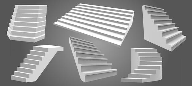 Realistische außentreppen. architektonische haustreppe, moderne treppe. leitern, architektonische treppen illustrationssatz. treppenhaus außen außen, treppenhausarchitektur für zu hause Premium Vektoren