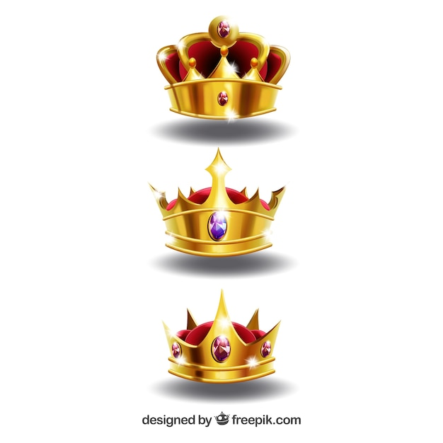 Realistische auswahl von drei glänzenden kronen Kostenlosen Vektoren