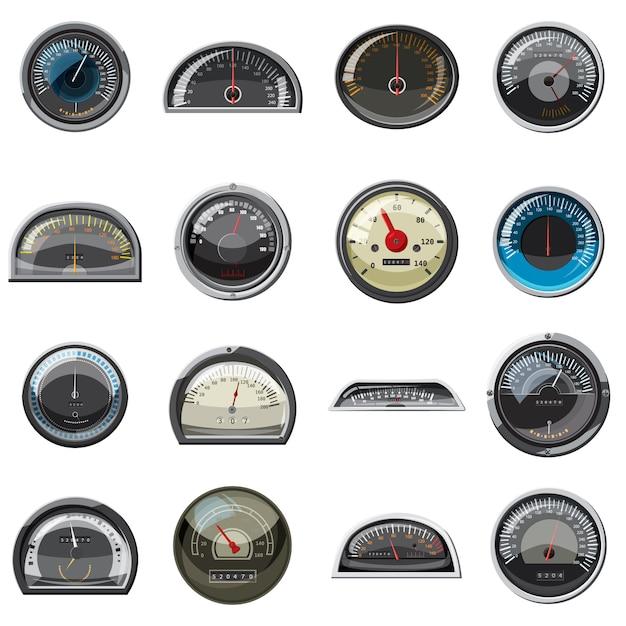 Realistische auto geschwindigkeitsmesser icons set. Premium Vektoren