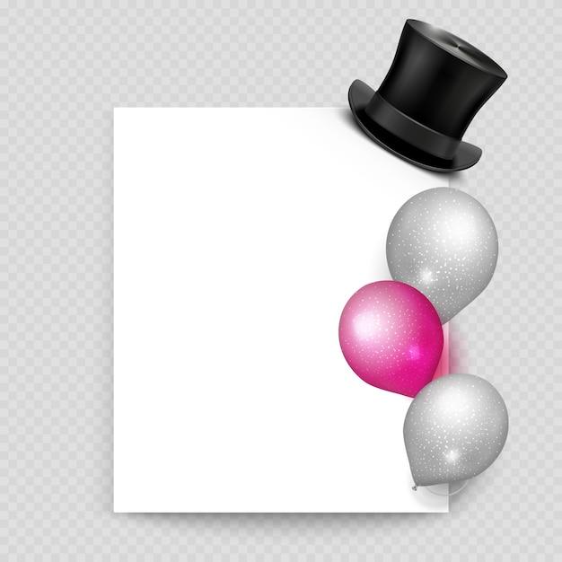 Realistische ballone und weinlese des grußkartenvektors Premium Vektoren