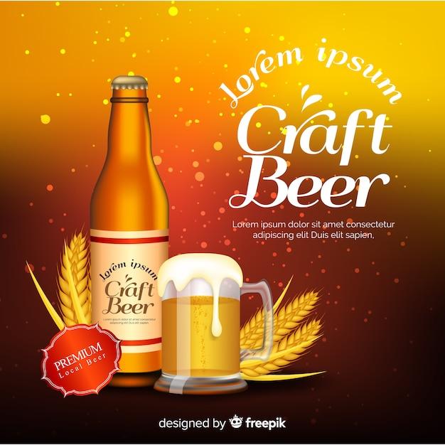 Realistische bierwerbung Kostenlosen Vektoren