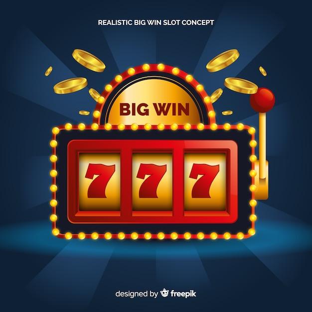 Realistische big win spielautomat Kostenlosen Vektoren