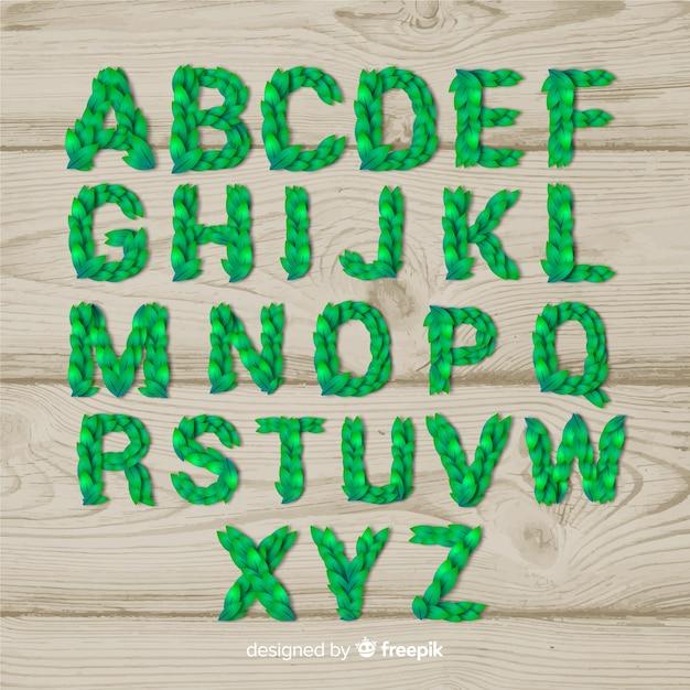 Realistische blätter alphabet Kostenlosen Vektoren