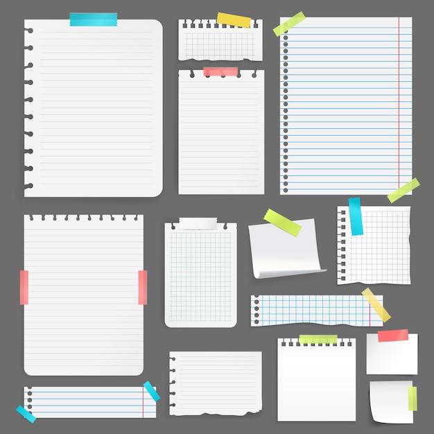 Realistische blätter des leeren papiers auf der unterschiedlichen größe und der form, die mit buntem band auf grauem hintergrund fest ist, lokalisierten vektorillustration Kostenlosen Vektoren