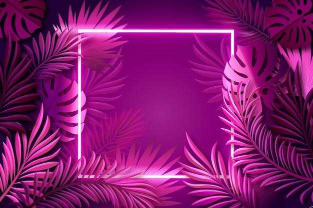 Realistische blätter mit neonrahmenhintergrund Kostenlosen Vektoren