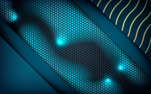 Realistische blaue schichten auf hexagonhintergrund Premium Vektoren