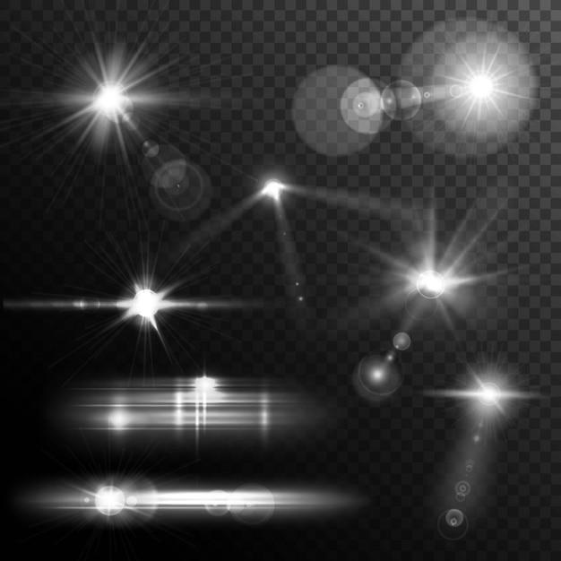 Realistische blendenflecke stern lichter und glühen weiße elemente auf transparentem hintergrund Kostenlosen Vektoren