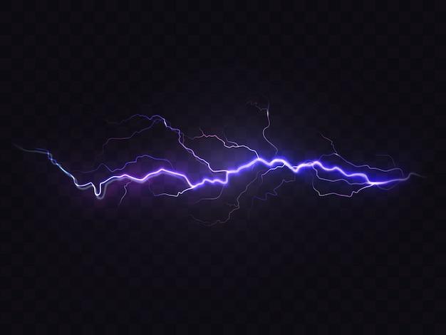 Realistische blitz isoliert auf schwarzem hintergrund. natürlicher lichteffekt, hell leuchtend Kostenlosen Vektoren