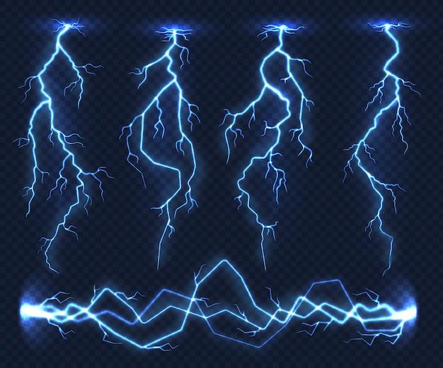 Realistische blitze. blitzgewitter des stromgewitter-lichtsturms in der wolke. naturkraftenergieladung, donnerschock Premium Vektoren