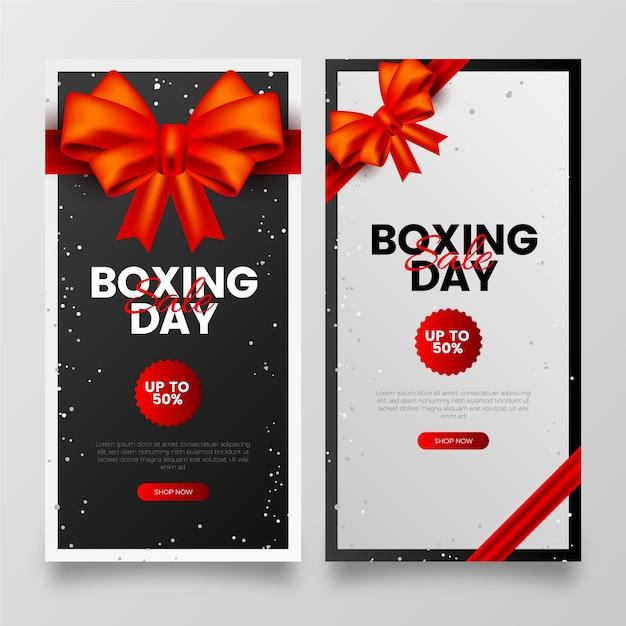 Realistische boxing day sale banner vorlage Kostenlosen Vektoren