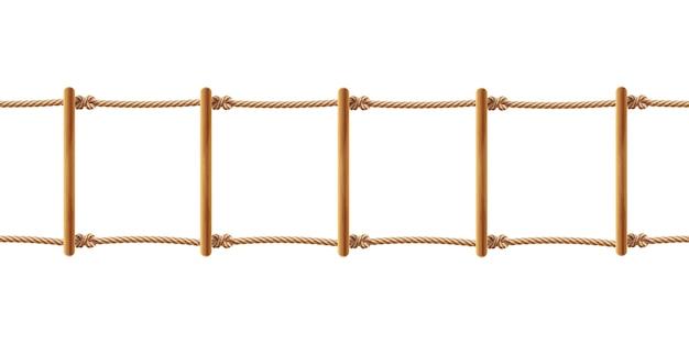 Realistische braune strickleiter lokalisiert auf weißem hintergrund. treppe mit schnüren Kostenlosen Vektoren