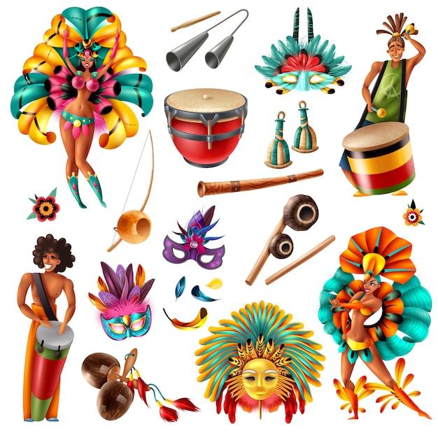 Realistische bunte elemente der brasilianischen karnevalsfeste, die mit traditionellen musikinstrumentenmaskenfedernkostümen lokalisierte vektorillustration gesetzt werden Kostenlosen Vektoren