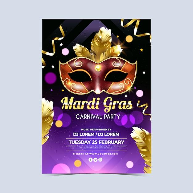 Realistische bunte karnevalplakatschablone Premium Vektoren