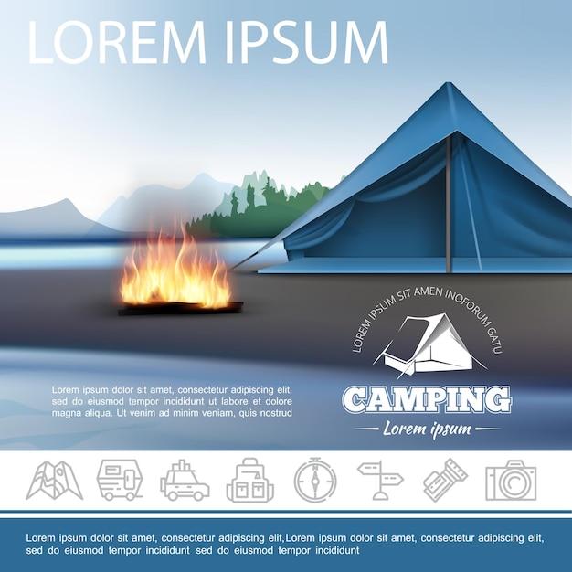 Realistische camping schöne vorlage mit zelt lagerfeuer am ufer des sees und im freien erholung lineare symbole Kostenlosen Vektoren