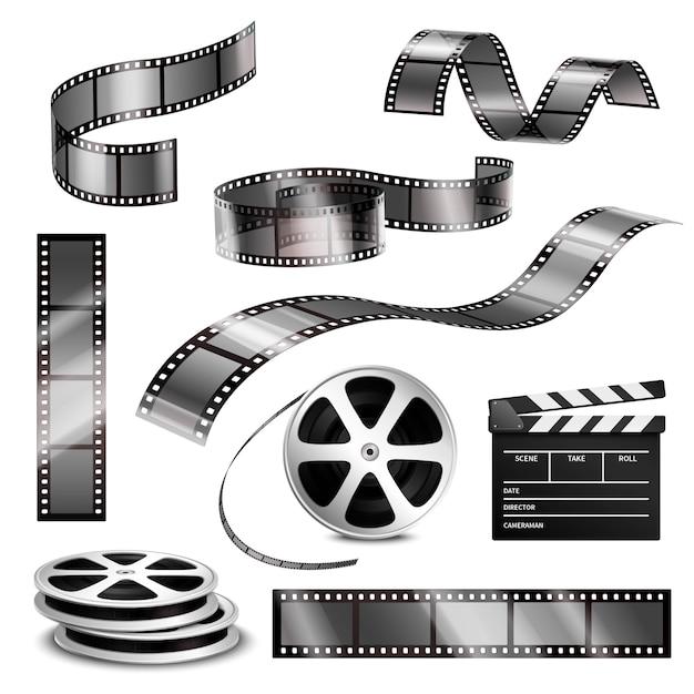 Realistische clapper fotostreifen und film Kostenlosen Vektoren