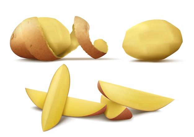 Realistische clipart mit roher geschälter kartoffel, ganzes gemüse mit brauner spirale schälen und scheiben Kostenlosen Vektoren