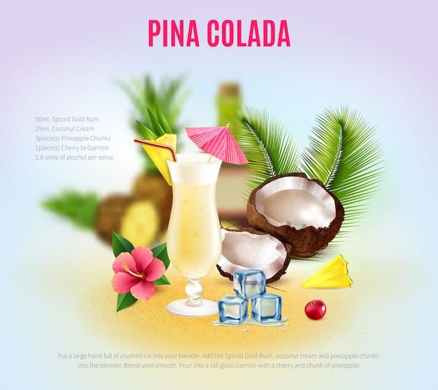 Realistische cocktailzusammensetzung Kostenlosen Vektoren